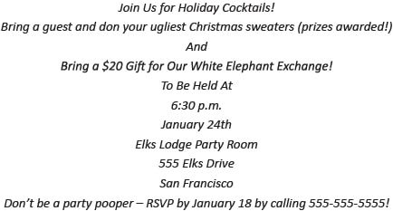 Holiday Cocktail Party Invitation Wording Example