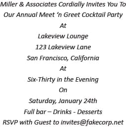Casual Cocktail Party Invitation Wording Example