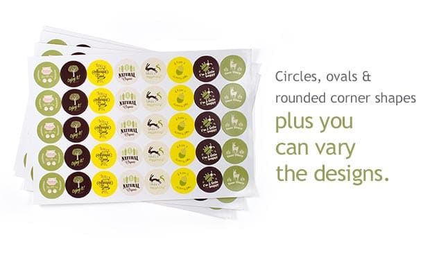 An easy way to get your stickers printed in circle oval or rounded corner shapes with multiple stickers on one convenient sheet is to try sheet stickers