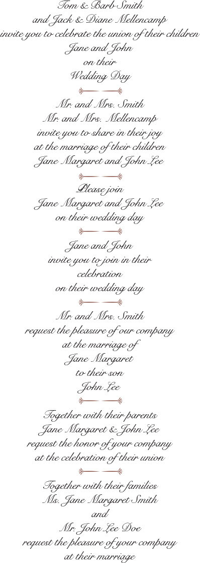 More Wedding Invitation Wording Examples
